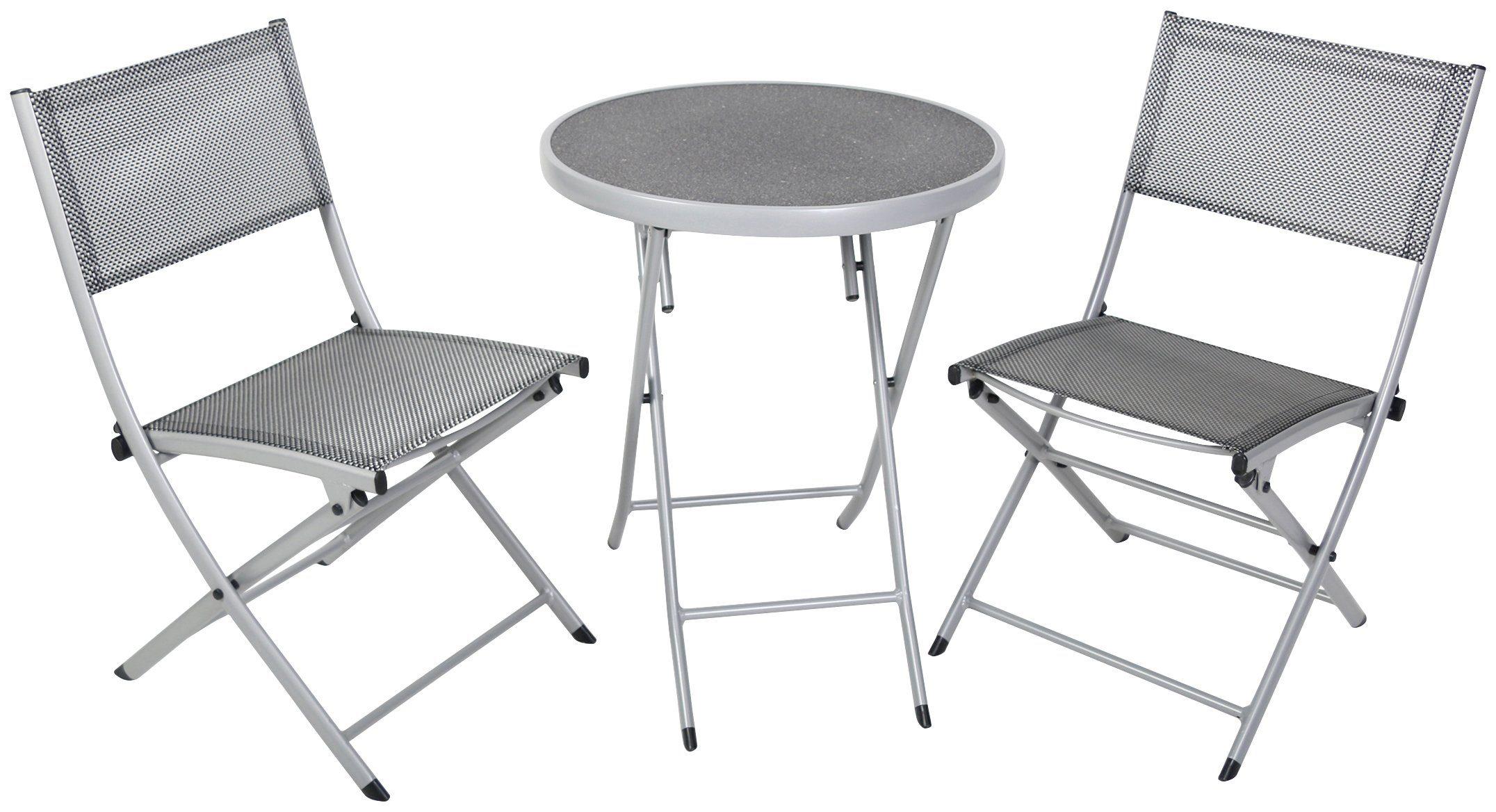 GREEMOTION Balkonset , 3-tlg., 2 Stühle, Tisch 60x60 cm, Alu/Textil