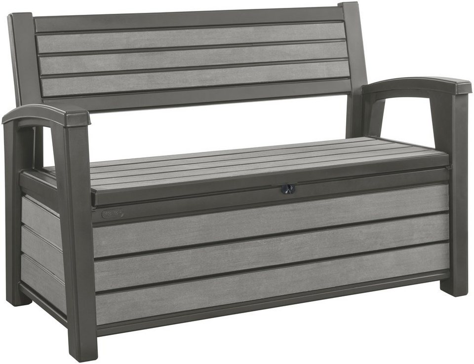 keter gartenbank hudson bench polypropylen 139x64x89 cm grau inkl auflagenbox online. Black Bedroom Furniture Sets. Home Design Ideas