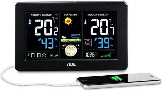 ADE »WS 1704« Funkwetterstation (mit Außensensor, smart und übersichtlich –großes LED-Display und Smartphone-Ladefunktion inklusive)