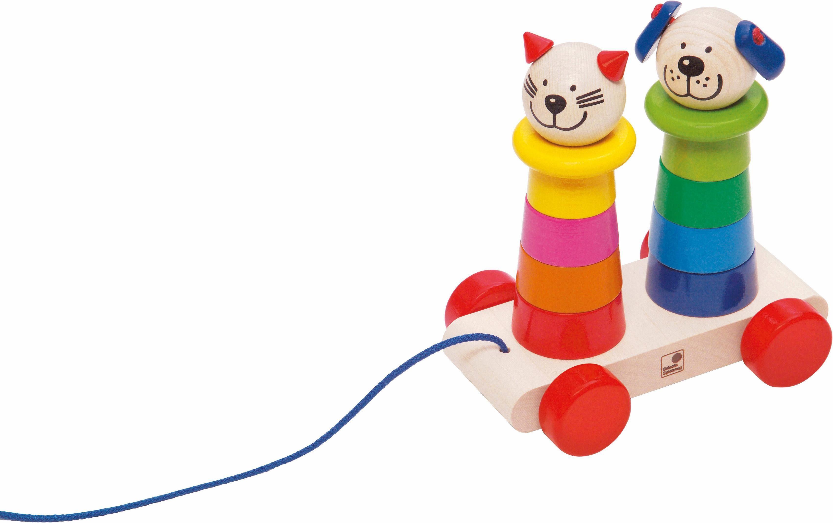 Selecta Nachziehspielzeug mit Steckpyramiden aus Holz, »Filino«