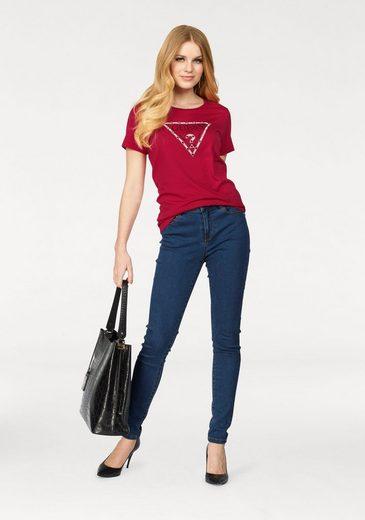 Guess Rundhalsshirt, mit Logo-Print und Nieten