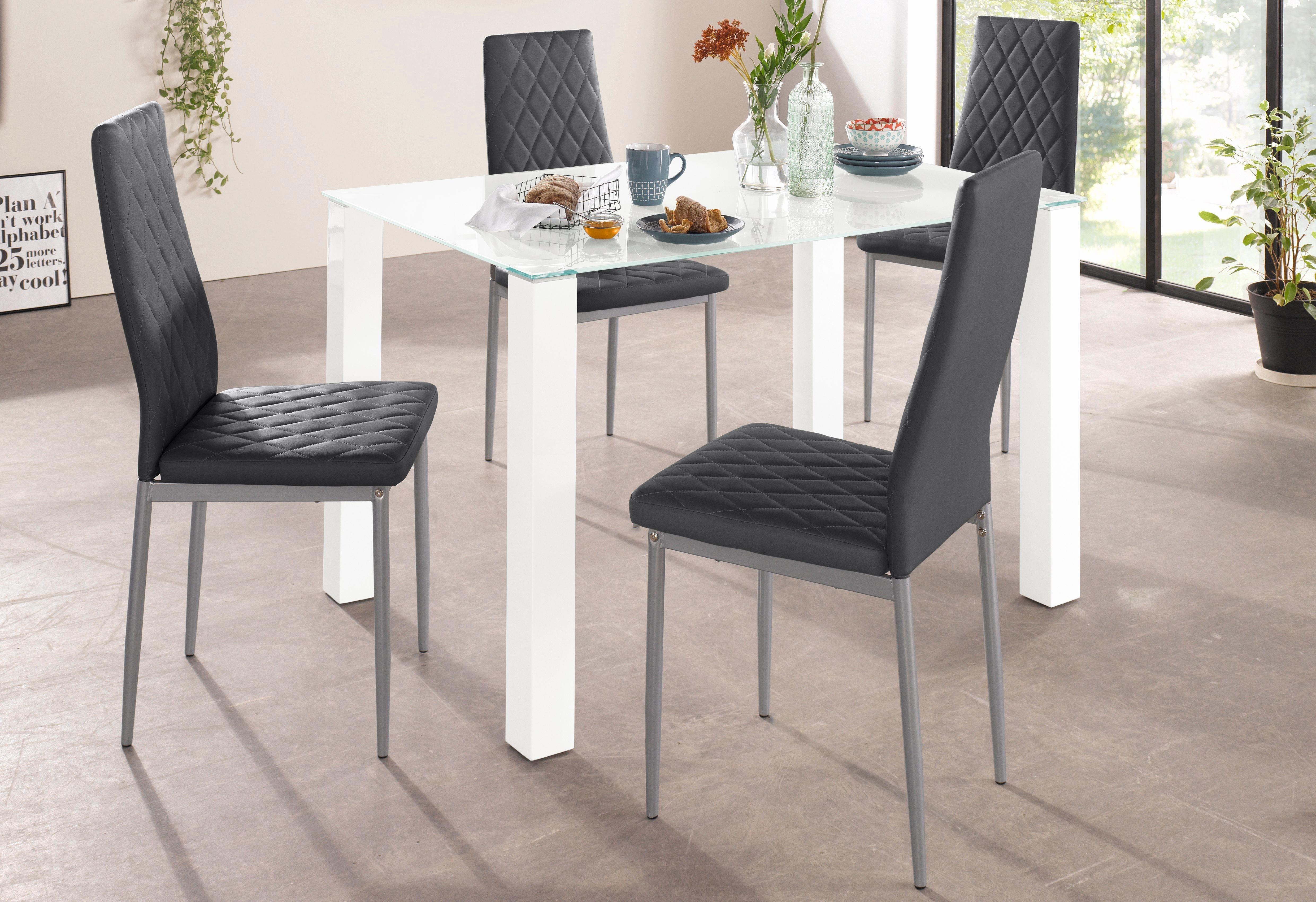 Essgruppe 5-teilig mit Glastisch, Breite 120 cm | Wohnzimmer > Tische > Glastische