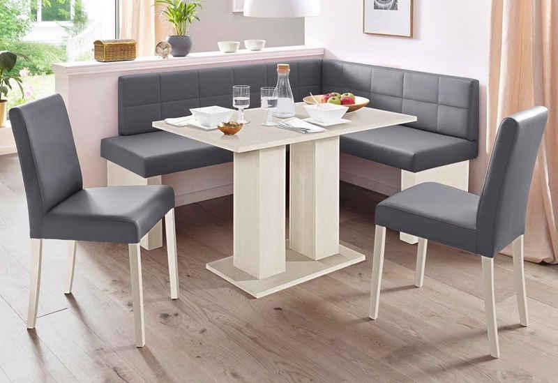 SCHÖSSWENDER Eckbankgruppe »Anna«, (Set, 4-tlg), mit 2 Stühlen mit massiven Gestell