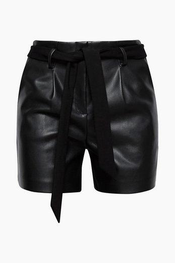 ESPRIT COLLECTION Shorts in Leder-Optik mit Jersey-Rückseite
