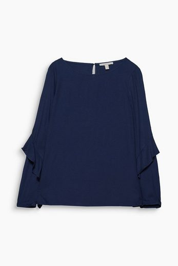 ESPRIT Fließende Bluse mit Volant-Ärmeln