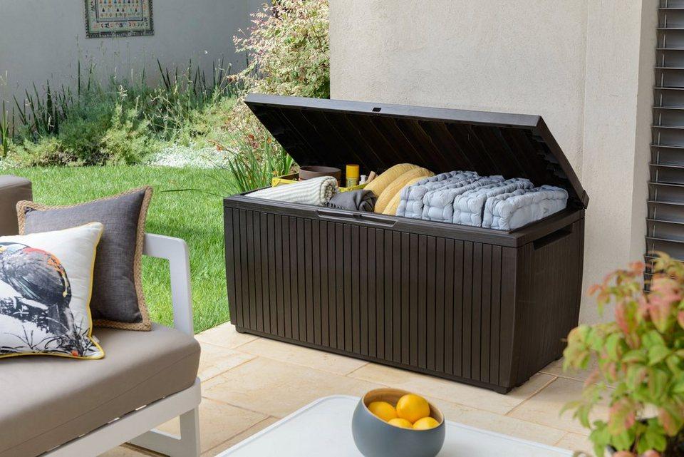 keter auflagenbox wood style box springwood 123x57x54 cm polypropylen braun online kaufen. Black Bedroom Furniture Sets. Home Design Ideas