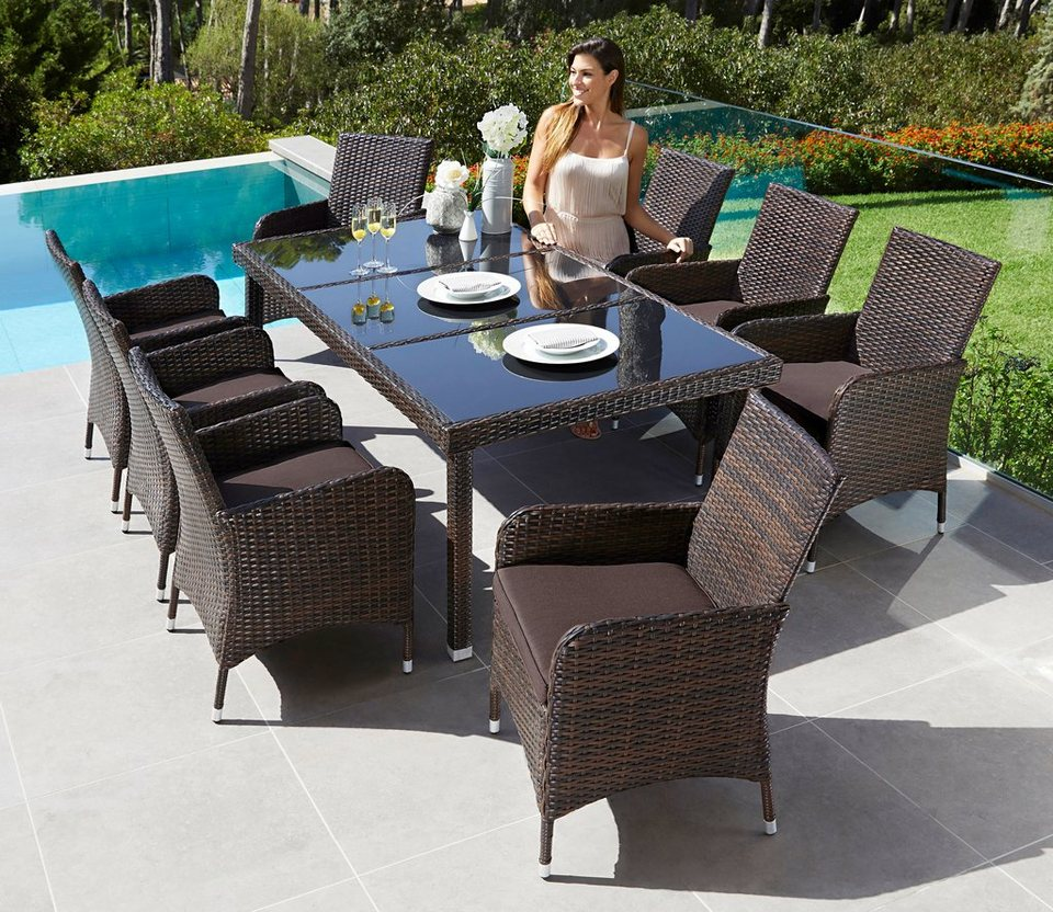 gartenm belset sydney 17 tlg 8 sessel tisch polyrattan inkl auflagen braun online. Black Bedroom Furniture Sets. Home Design Ideas