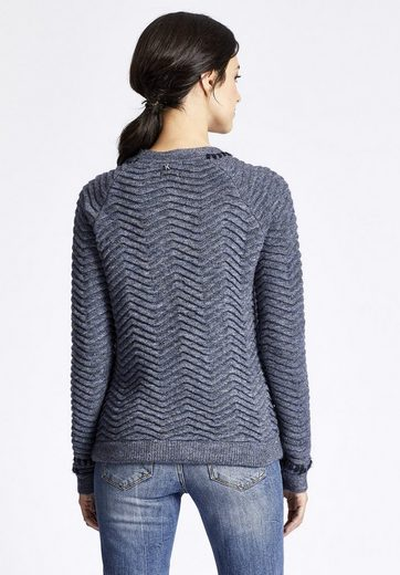 Khujo Crew-neck Sweater Oksana, Stitched With Contrasting Colored