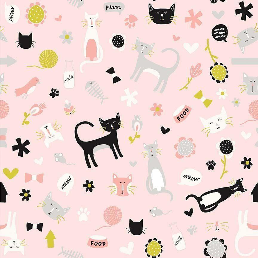 """Zweigart Baumwoll-Stoff """"Cute Cats"""" 115 cm breit (Meterware)"""