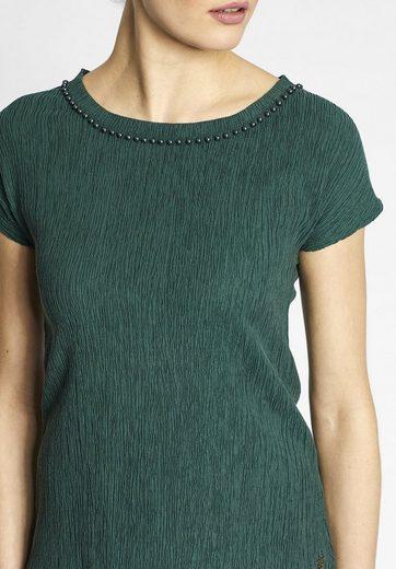 khujo T-Shirt ABELONE, mit Perlenapplikation am Kragen