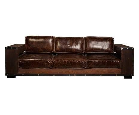 kasper wohndesign ledersofa 3 sitzer mit b cherregalen braun helle online kaufen otto. Black Bedroom Furniture Sets. Home Design Ideas