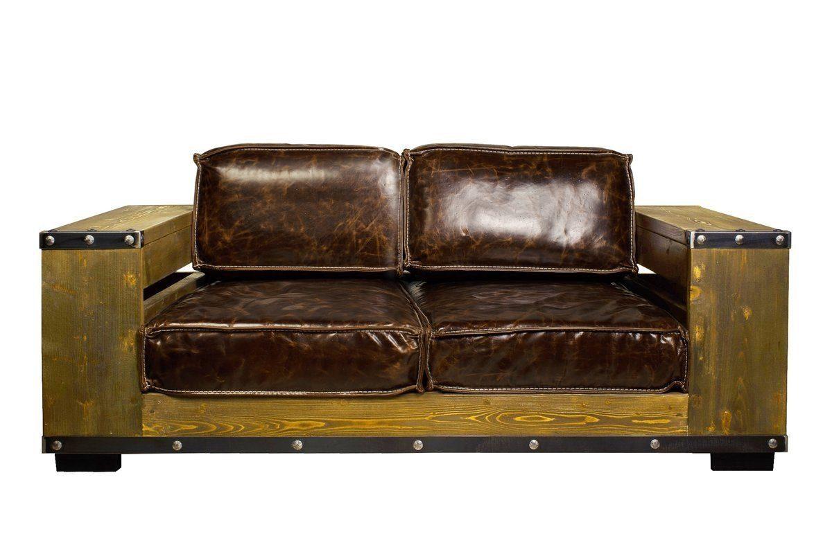 Kasper-Wohndesign Ledersofa 2-Sitzer mit Bücherregalen braun »Helle«