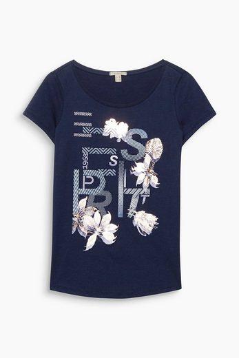 ESPRIT Softes Shirt mit Print, 100% Baumwolle