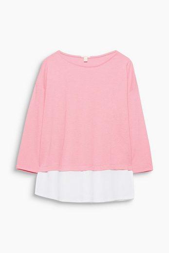 ESPRIT 2-in-1-Shirt aus fließendem Material-Mix