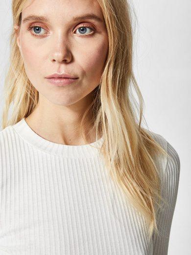 Selected Femme Minimalistisches T-Shirt mit langen Ärmeln