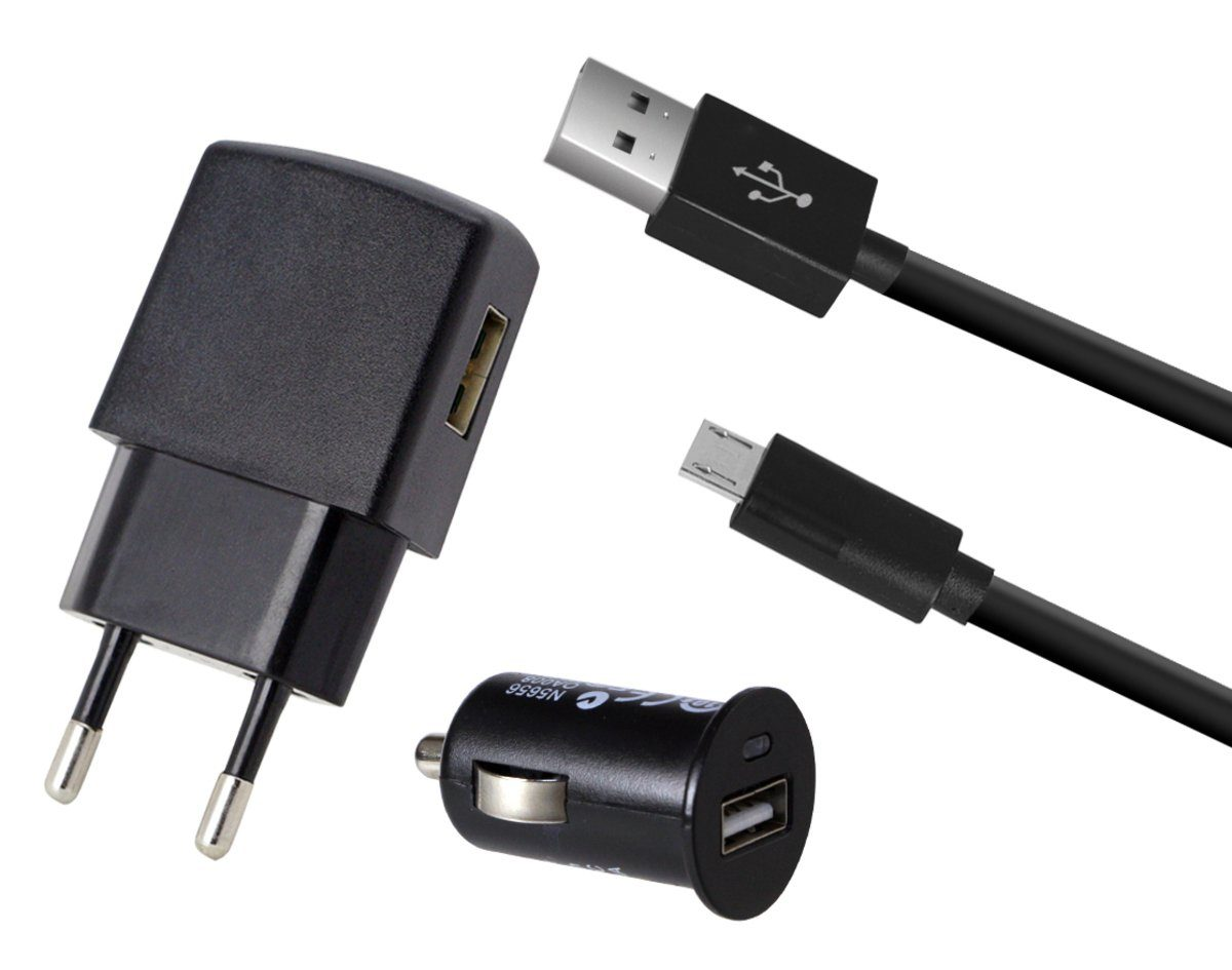 Fontastic Lader »KFZ- & Reiseladeset+ Micro USB Kabel 1m, 1A«