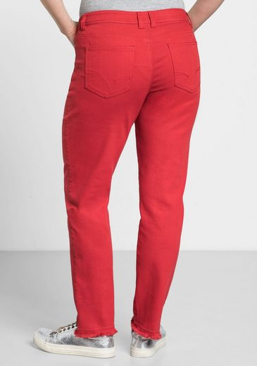 sheego Casual 5-Pocket-Hose, mit Fransen am Saum