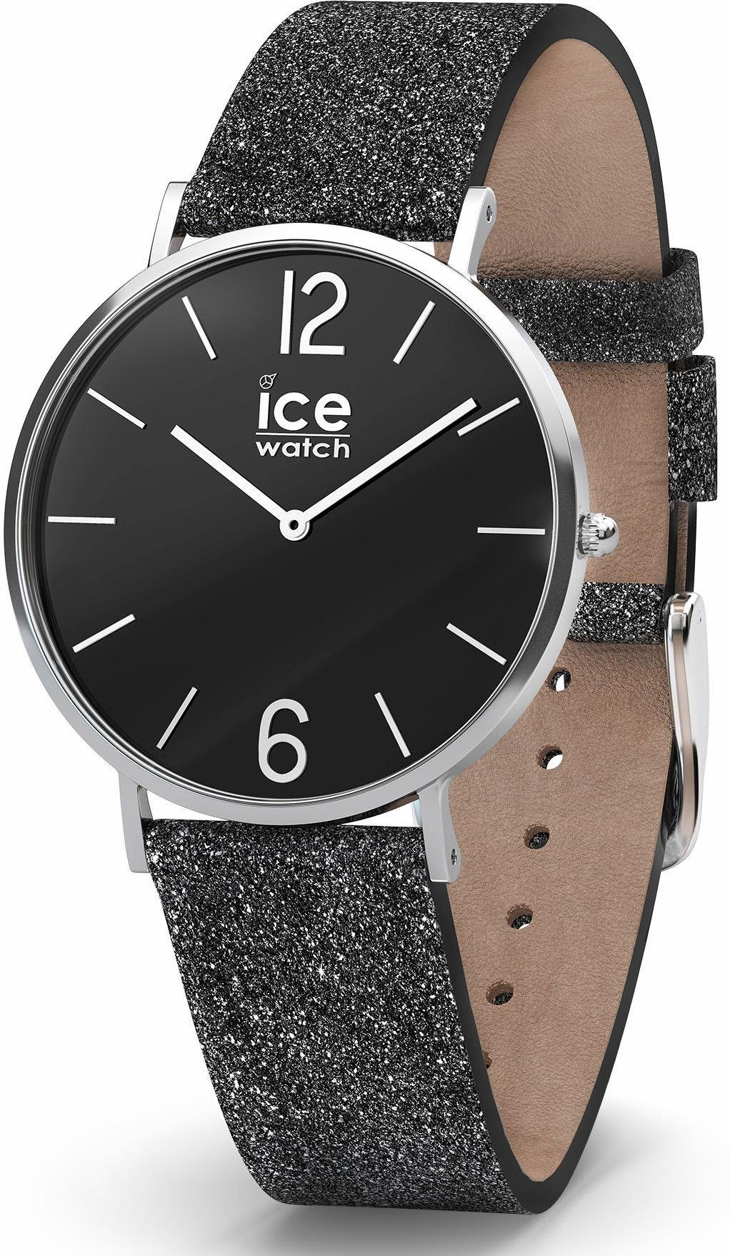 ice-watch Quarzuhr »CITY sparkling - Glitter Black - Small - 2H, 015088« mit glitter Armband