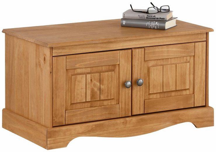 Home affaire Sitzbank »Melissa«, aus massiver Kiefer, mit geschwungener Sockelleiste und zwei großen Fächern, Breite 85 cm