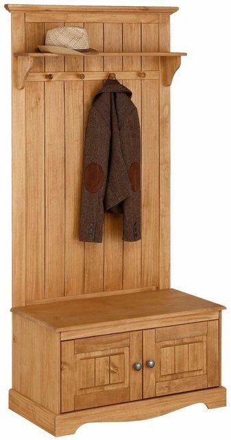 Garderoben Sets - Home affaire Kompaktgarderobe »Melissa«, aus massiver Kiefer, mit geschwungener Sockelleiste , Breite 85 cm  - Onlineshop OTTO