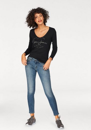 Pepe Jeans Langarmshirt ELSI, mit Metallic-Print