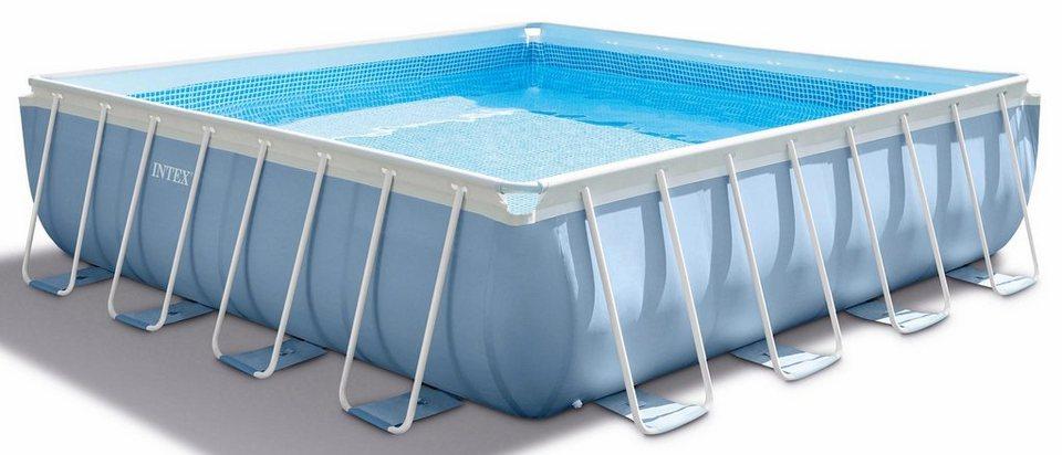 Intex pool set prism frame square pool komplettset for Poolfolie montieren