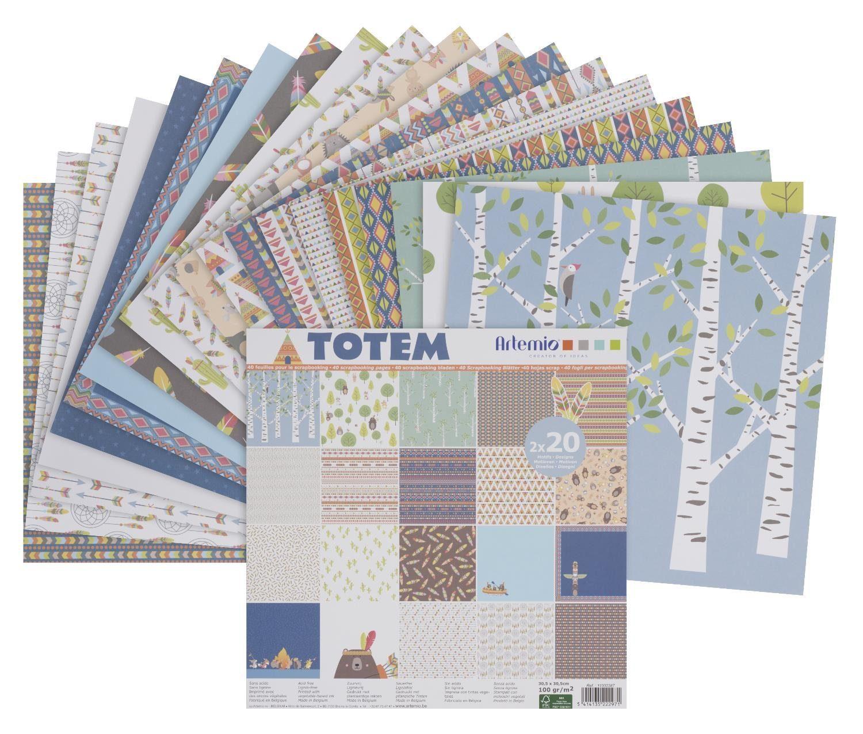 """Scrapbook-Block """"Totem"""" 40 Blatt"""