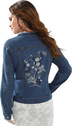Alessa W. Jeansblazer mit Glitzersteinchen-Verzierung