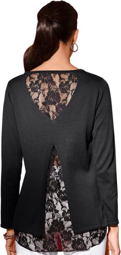 Classic Basics Pullover mit filigraner Spitze