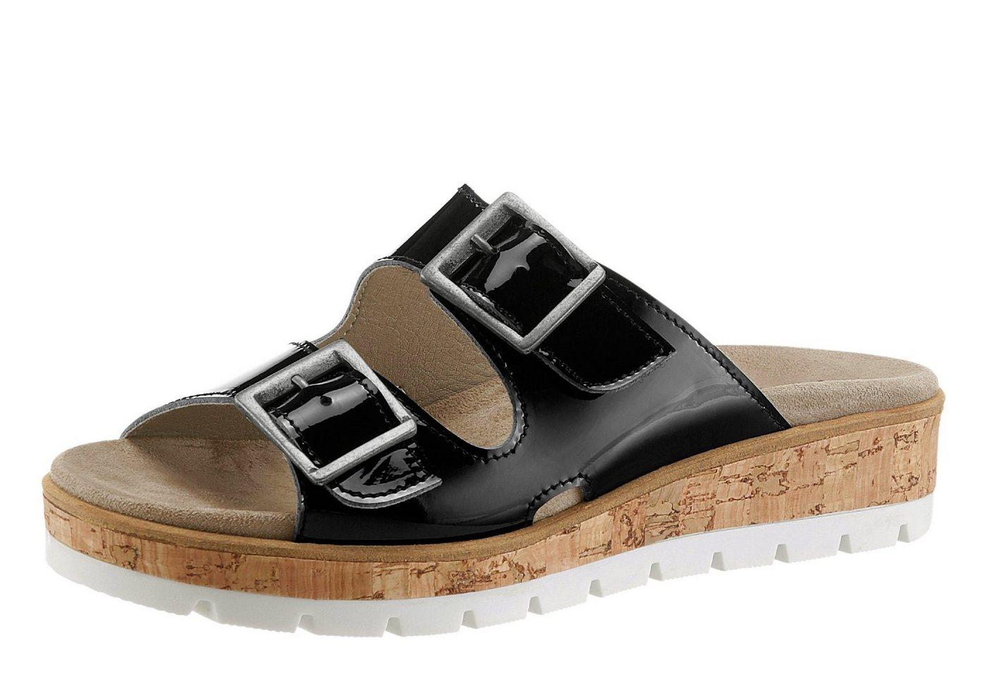 Aco Pantolette mit gepolstertem Wechselfußbett   Schuhe > Clogs & Pantoletten > Klassische Pantoletten   Schwarz   Aco