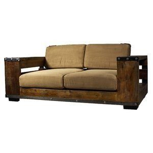 Kasper-Wohndesign Sofa 2-Sitzer mit Bücherregalen Stoff Canvas braun »Bary«