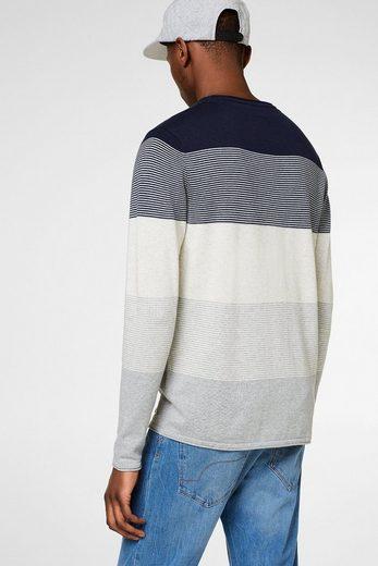 EDC BY ESPRIT Baumwoll-Sweater mit Blockstreifen