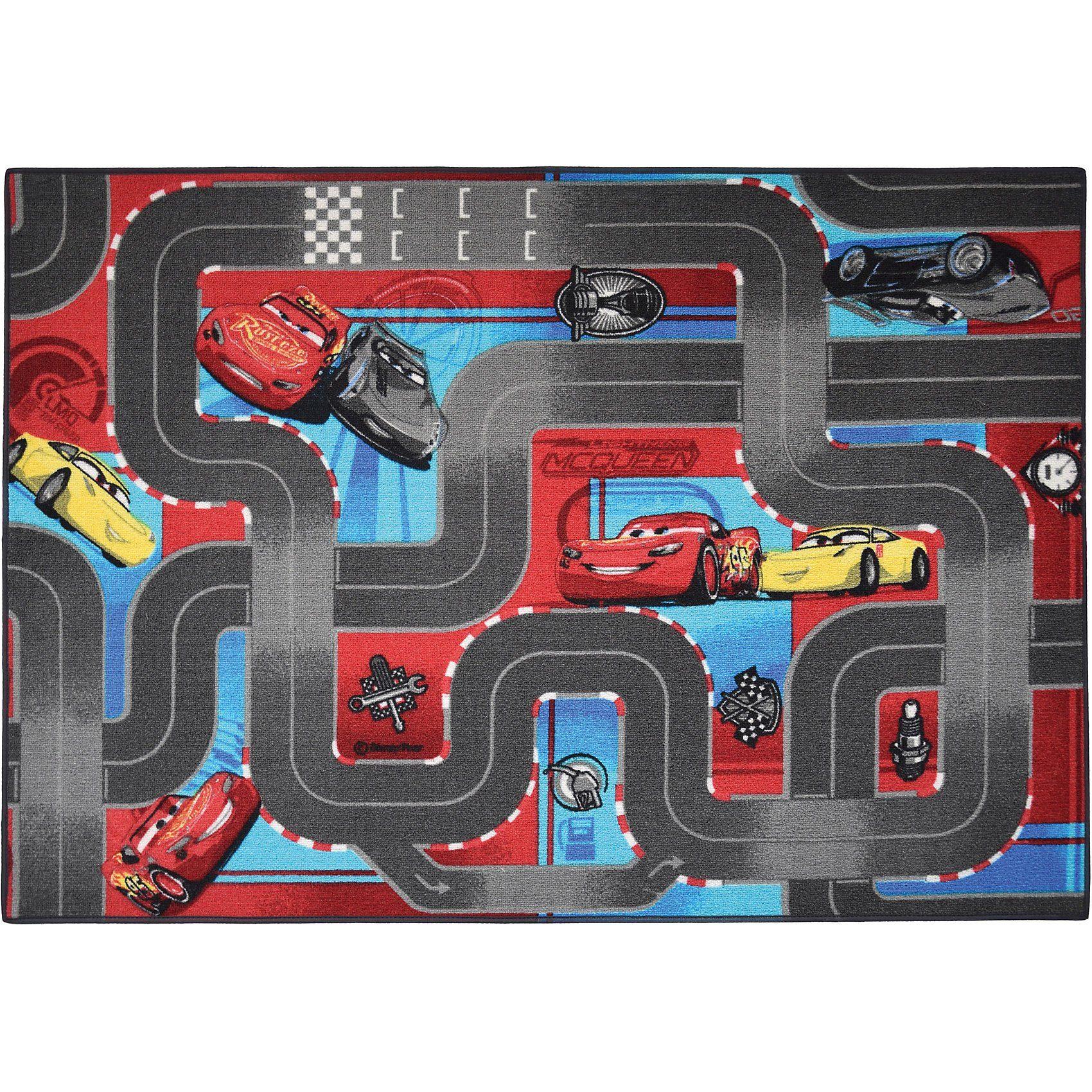 Kinderteppich Cars, Straßenkarte, 95 x 133 cm