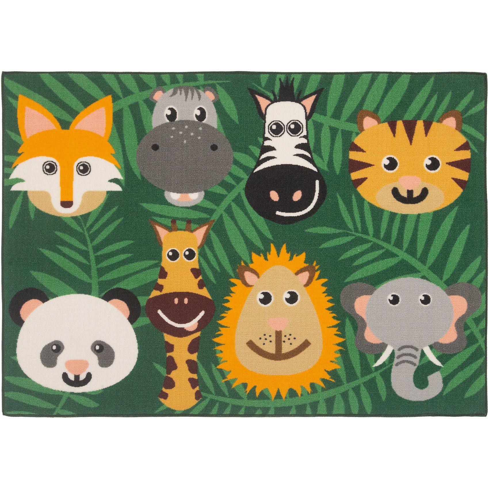 Kinderteppich wilde Tiere, 95 x 133 cm