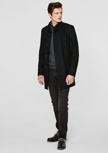 s.Oliver BLACK LABEL Slim Fit: Wollmantel mit Stehkragen
