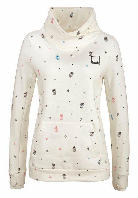 Damen Bench Sweatshirt im trendy Allover-Design weiß | 05054577763467