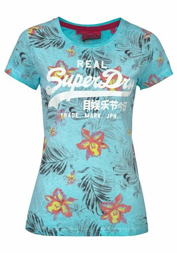 Superdry T-Shirt VINTAGE LOGO HIBISCUS OVERDYED TEE, im mehrfarbigen Tropical-Design