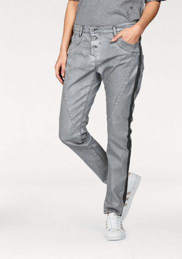 Please Jeans Boyfriend-Jeans P78A, mit Metallbeschichtung & Gallonstreifen