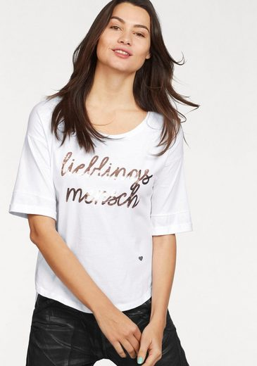 Please Jeans Rundhalsshirt, mit Metallic-Print