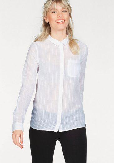 Superdry Hemdbluse COTTON DOBBY STRIPE SHIRT, im modisch transparenten Look