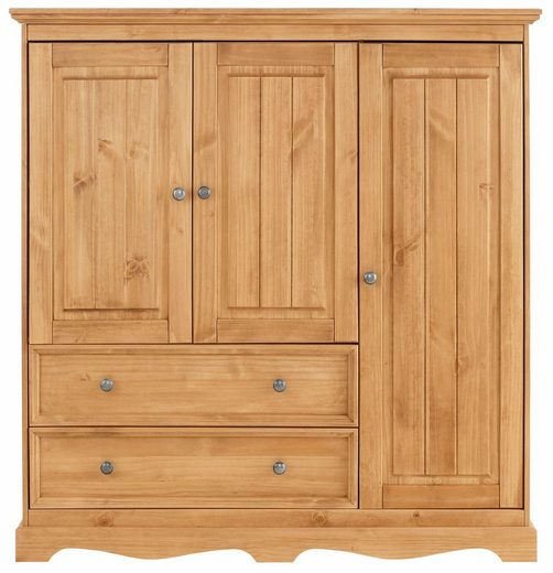 Home affaire Wäscheschrank »Melissa« aus massiver Kiefer, mit geschwungener Sockelleiste, Breite 138 cm