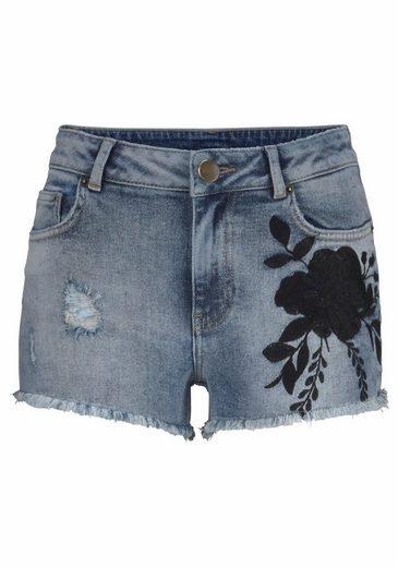 Ajc Jean Pants Shot, Floral Embroidery