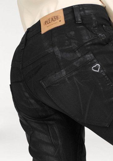 Please Jeans Boyfriend-Jeans P85A, mit Glanzbeschichtung