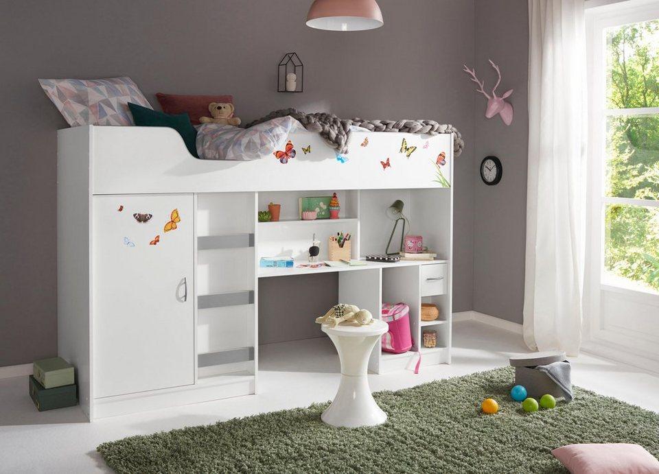 hochbett mit integriertem kleiderschrank und arbeitsplatte online kaufen otto. Black Bedroom Furniture Sets. Home Design Ideas