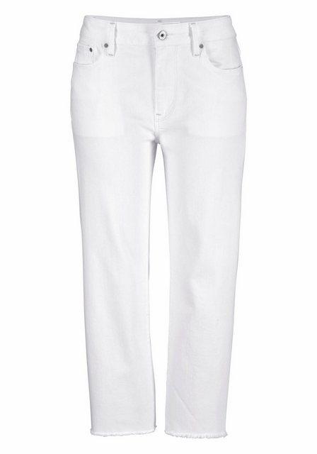 Damen G-Star RAW Boyfriend-Jeans 3301 mit Fransen am Saumabschluss weiß | 08719369163920