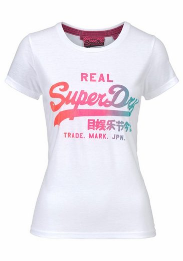 Superdry T-Shirt VINTAGE LOGO BURN OUT TEE, mit neonfarbigem Frontprint in Glitzeroptik