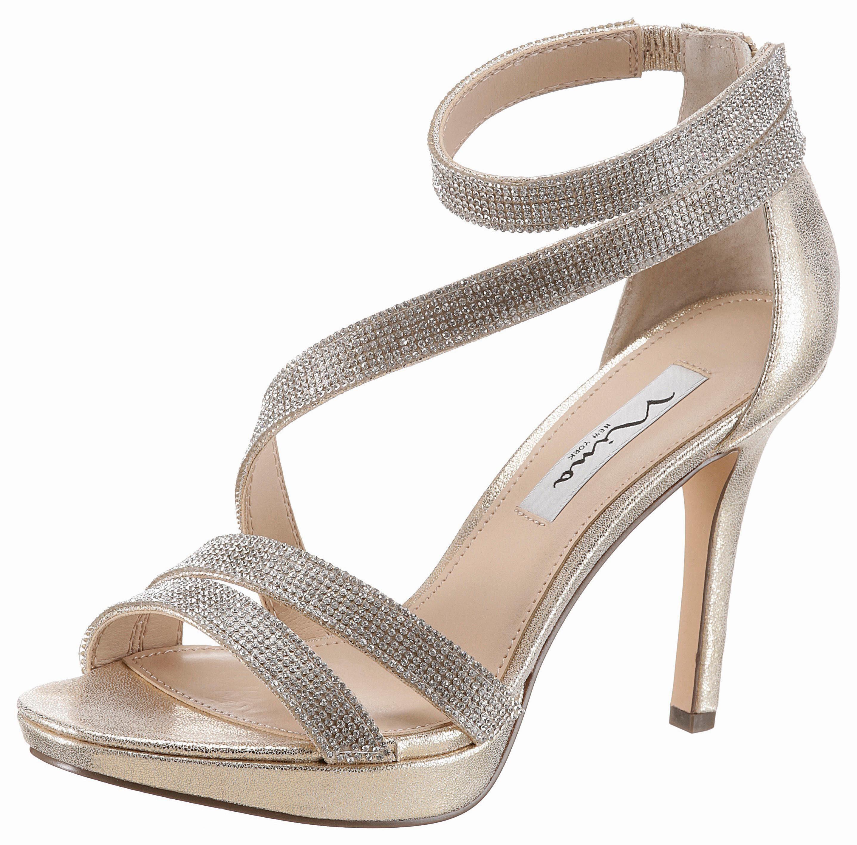 Nine West »Dempsey« High-Heel-Sandalette, im schimmernden Look, goldfarben, goldfarben