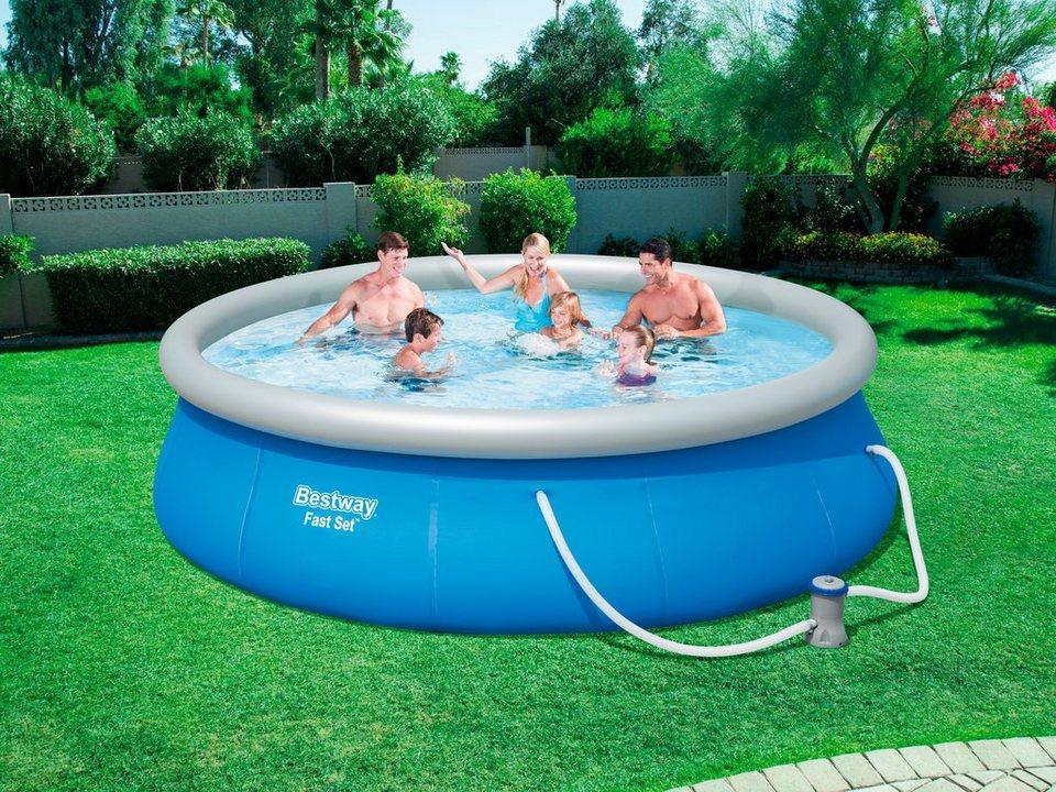 Bestway set quick up pool fast set mit filterpumpe xh 396x84 cm online kaufen otto - Quick up pool zubehor ...
