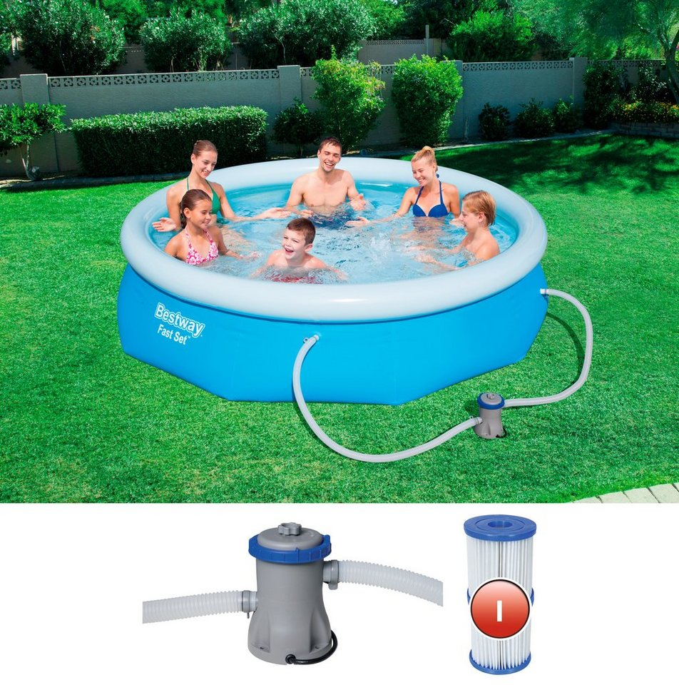 Bestway quick up pool fast set h 274 76 cm mit for Quick up pool obi