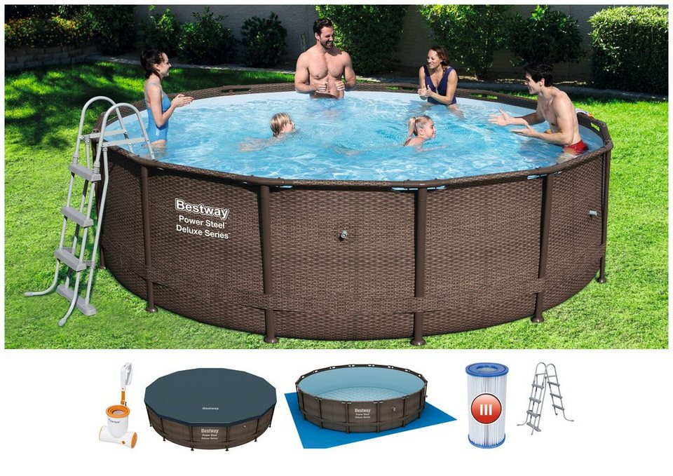 BESTWAY Set: Rundpool »Power Steel™ DELUXE SERIES™ «, mit ...